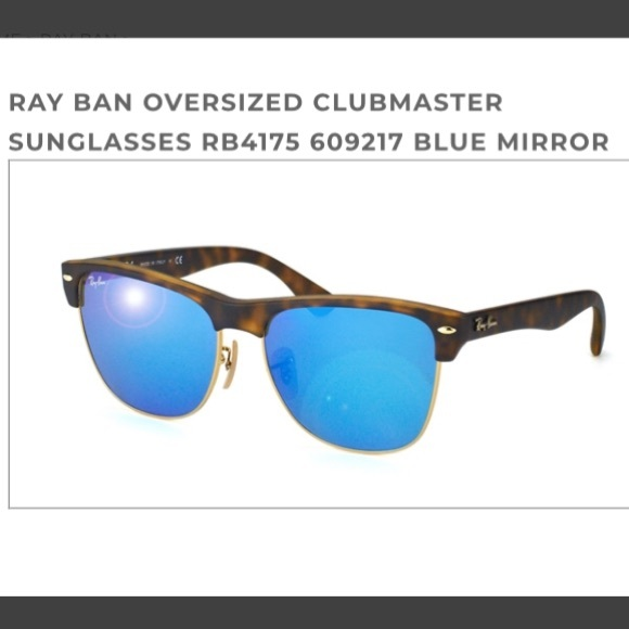 Ray-Ban Accessories   Clubmaster Oversized Mirror Blue Lenses   Poshmark b1289ab512c7